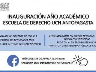 Escuela de Derecho UCN Antofagasta realizará inauguración de año académico con clase magistral